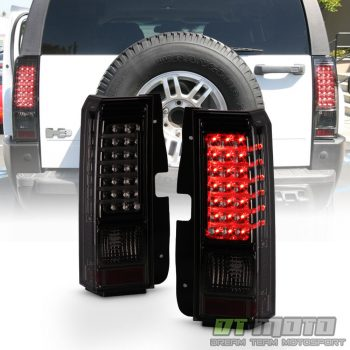 Used 2006-2010 Hummer H3 Smoked LED Tail Lights Brake Lamps w/ LED Bar Left+Right Set 2019-2020