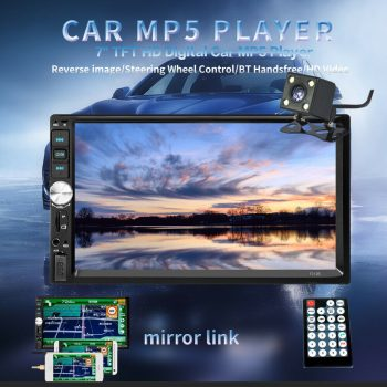 Used 1x 7inch 2DIN Car MP5 Player Bluetooth Touch Screen Stereo Radio HD+Rear Camera 2019