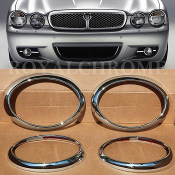 Used US STOCK For JAGUAR X TYPE 01-09 Set 4x CHROME HEAD LAMP HEADLIGHT Surrounds 2020